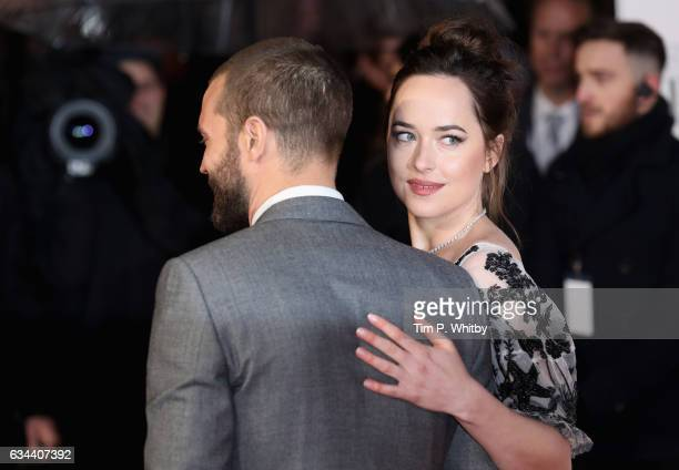 Dakota Johnson and Jamie Dornan attend the UK Premiere of 'Fifty Shades Darker' at the Odeon Leicester Square on February 9 2017 in London United...