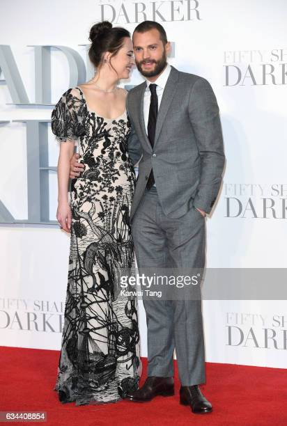 Dakota Johnson and Jamie Dornan attend the UK Premiere of Fifty Shades Darker at the Odeon Leicester Square on February 9 2017 in London United...