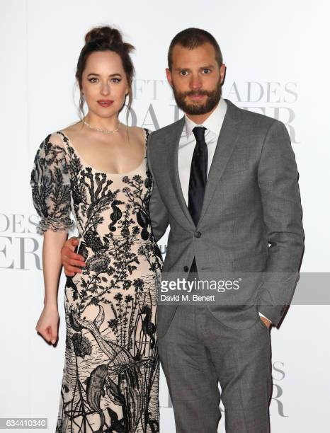 Dakota Johnson and Jamie Dornan attend the UK Premiere of 'Fifty Shades Darker' at Odeon Leicester Square on February 9 2017 in London United Kingdom