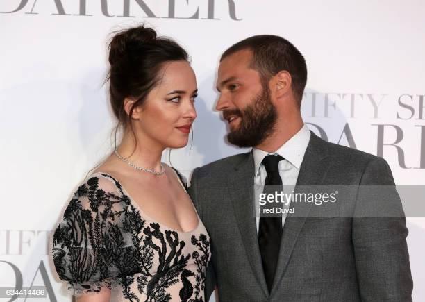 Dakota Johnson and Jamie Dornan attends the 'Fifty Shades Darker' UK Premiere on February 9 2017 in London United Kingdom