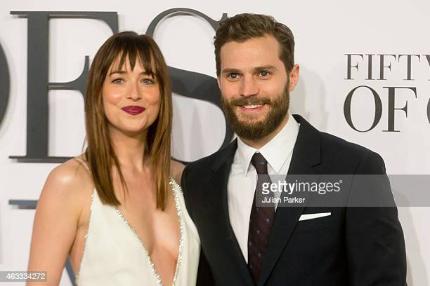 Dakota Johnson and Jamie Dornan attends the UK Premiere of 'Fifty Shades Of Grey' at Odeon Leicester Square on February 12 2015 in London England