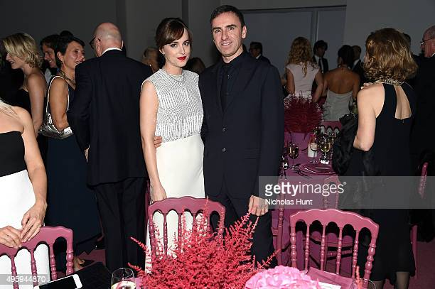 Dakota Johnson and Raf Simons attend the 2015 Guggenheim International Gala Dinner made possible by Dior at Solomon R Guggenheim Museum on November 5...