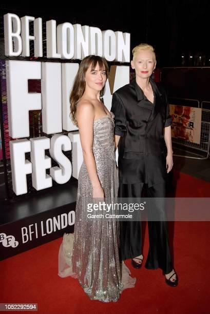 Dakota Johnson and Tilda Swinton attend the UK Premiere of Suspiria Headline Gala during the 62nd BFI London Film Festival on October 16 2018 in...