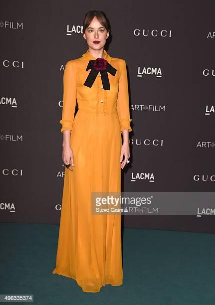 Dakota Johnson arrive at the LACMA 2015 ArtFilm Gala Honoring James Turrell And Alejandro G Inarritu Presented By Gucci at LACMA on November 7 2015...