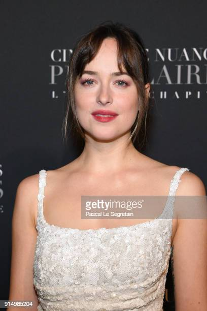 Dakota Johnson attends 'Fifty Shades Freed 50 Nuances Plus Claires' Premiere at Salle Pleyel on February 6 2018 in Paris France