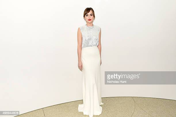 Dakota Johnson attends the 2015 Guggenheim International Gala Dinner made possible by Dior at Solomon R Guggenheim Museum on November 5 2015 in New...