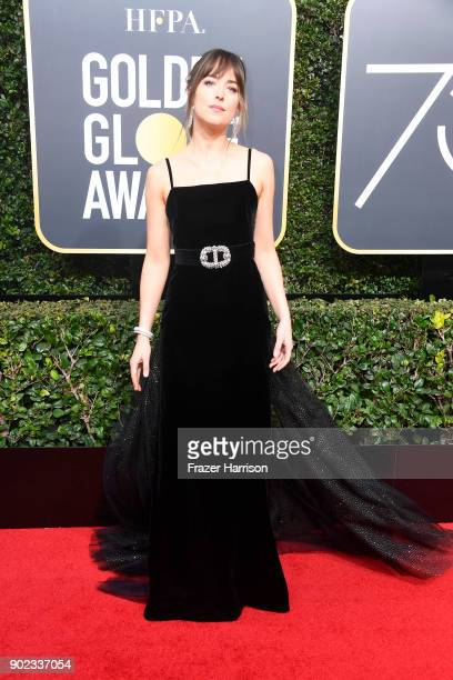 Dakota Johnson attends The 75th Annual Golden Globe Awards at The Beverly Hilton Hotel on January 7 2018 in Beverly Hills California