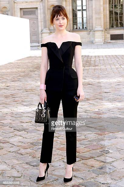 Dakota Johnson attends the Christian Dior show as part of the Paris Fashion Week Womenswear Fall/Winter 2015/2016 on March 6 2015 in Paris France
