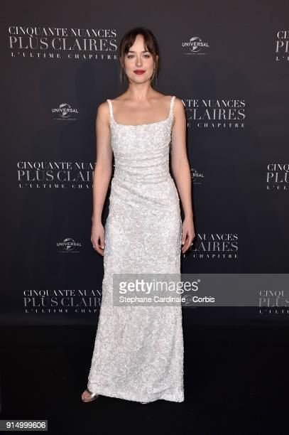 Dakota Johnson attends the Fifty Shades Freed 50 Nuances Plus Clair Paris Premiere at Salle Pleyel on February 6 2018 in Paris France