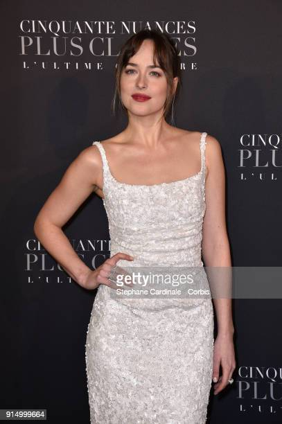 Dakota Johnson attends the 'Fifty Shades Freed 50 Nuances Plus Clair' Paris Premiere at Salle Pleyel on February 6 2018 in Paris France