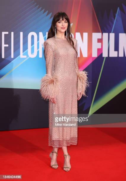 """Dakota Johnson attends """"The Lost Daughter"""" UK Premiere during the 65th BFI London Film Festival at The Royal Festival Hall on October 13, 2021 in..."""