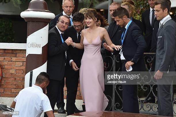 Dakota Johnson is seen leaving the 72nd Venice Film Festival on September 4 2015 in Venice Italy