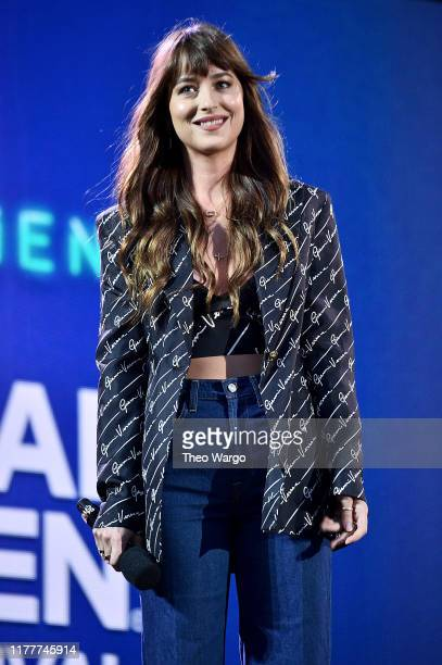 Dakota Johnson speaks onstage during the 2019 Global Citizen Festival Power The Movement in Central Park on September 28 2019 in New York City