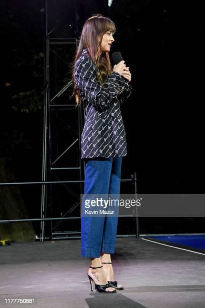Dakota Johnson speaks onstage during the 2019 Global Citizen Festival: Power The Movement in Central Park on September 28, 2019 in New York City.