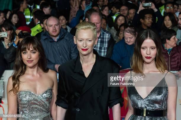 Dakota Johnson, Tilda Swinton and Mia Goth attend the UK film premiere of 'Suspiria' at Cineworld, Leicester Square, during the 62nd London Film...