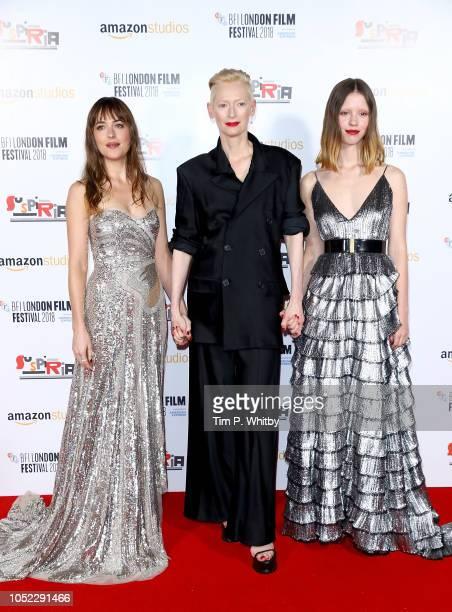 Dakota Johnson Tilda Swinton and Mia Goth attends the UK Premiere of Suspiria Headline Gala during the 62nd BFI London Film Festival on October 16...
