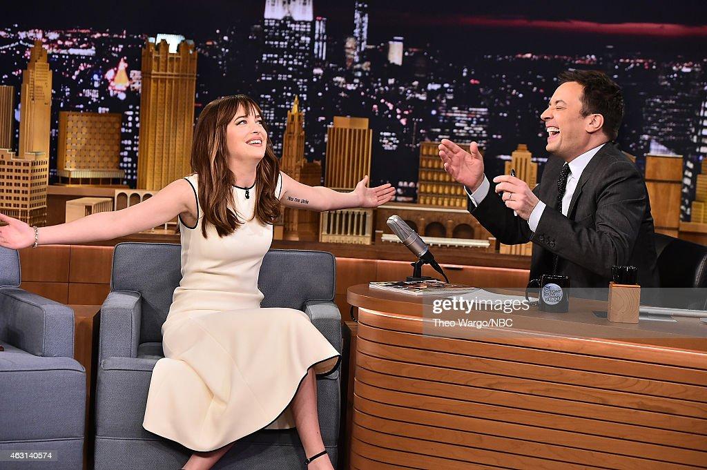 Dakota Johnson Visits 'The Tonight Show Starring Jimmy Fallon' at Rockefeller Center on February 10, 2015 in New York City.