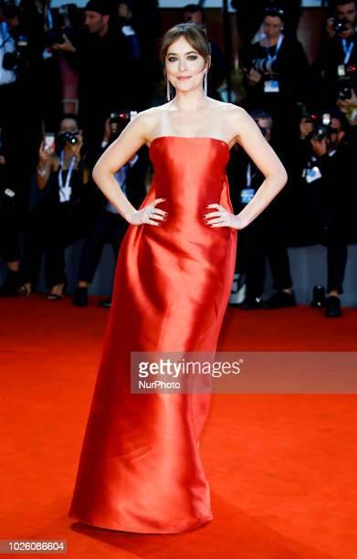 Dakota Johnson walks the red carpet ahead of the 'Suspiria' screening during the 75th Venice Film Festival on September 1 2018 in Venice Italy