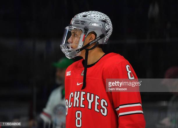 Dakota Joshua of the Ohio State Buckeyes stands on the ice during his team's NCAA Division I Men's Ice Hockey West Regional Championship Semifinal...