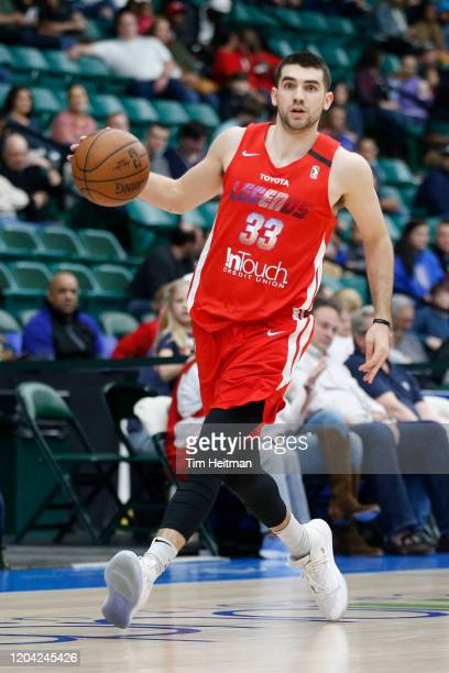 Dakota Mathias of the Texas Legends dribbles up court during the second quarter against the Northern Arizona Suns on February 29 2020 at Comerica...