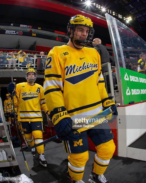 Dakota Raabe of the Michigan Wolverines heads out to the rink to start the third period against the Michigan State Spartans during the annual NCAA...
