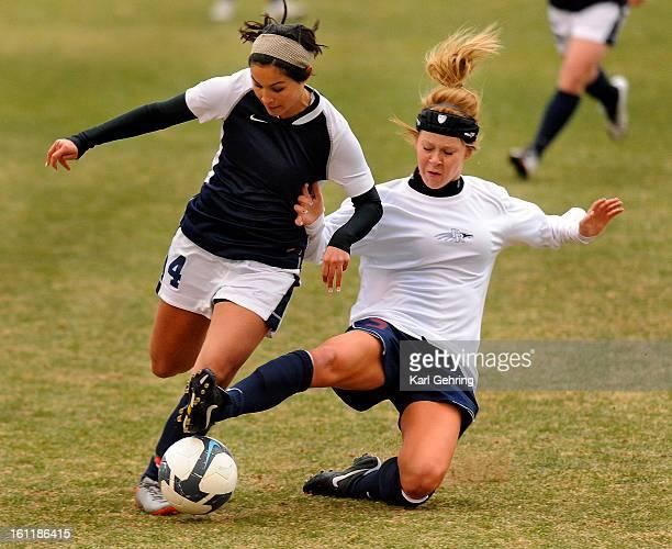 Dakota Ridge defender Rachel Frymier tried to take the ball from Pine Creek forward Jenna Howerton in the first half The Dakota Ridge High School...