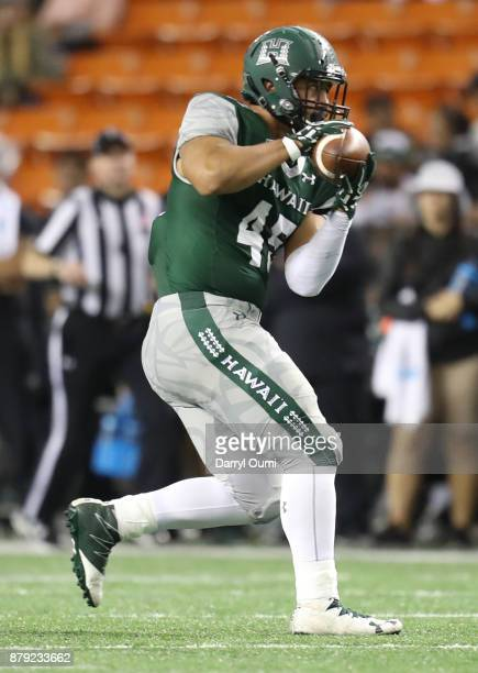 Dakota Torres of the Hawaii Rainbow Warriors makes a catch in the open field during the second half otg against the BYU Cougars at Aloha Stadium on...