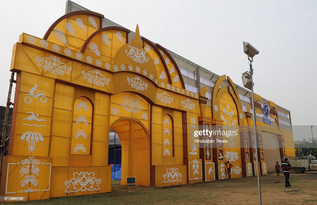 Dakshin Gurgaon Puja committee makes the Durga Puja pandal on Athlete theme, on October 5, 2016 in Gurgaon, India.