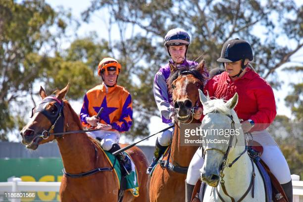 Daktari ridden by Laura Lafferty returns to the mounting yard after winning the Ecycle Solutions 0-58 Handicap at Stawell Racecourse on December 07,...