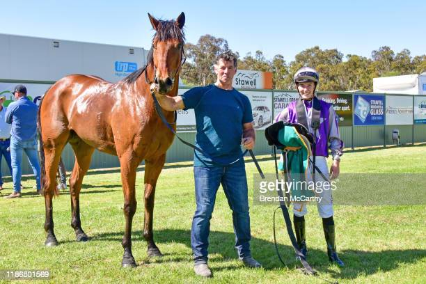 Daktari, Stephen Lenehan and Laura Lafferty after winning the Ecycle Solutions 0-58 Handicap at Stawell Racecourse on December 07, 2019 in Stawell,...