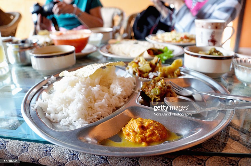 Dal bhat rice in Katmandu, Nepal : Foto de stock