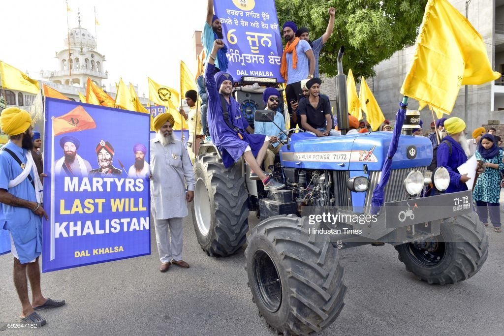 Dal Khalsa activists take out protest march ahead of Operation Blue Star Anniversary on June 5 2017 in Amritsar India