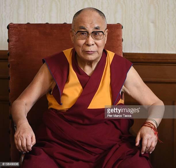 Dalai Lama during a meeting with the Milan Archibishop Angelo Scola on October 20 2016 in Milan Italy The Dalai Lama spiritual leader of Tibetan...