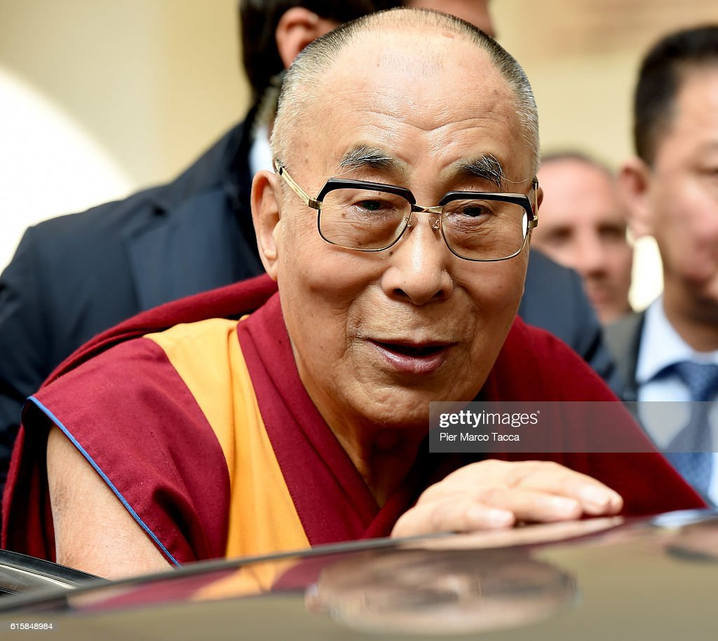 Dalai Lama leaves the meeting with the Milan Archibishop Angelo Scola on October 20, 2016 in Milan, Italy. The Dalai Lama spiritual leader of Tibetan Buddhism, starts today the first of a three-day visit and spiritual meetings in Milan.