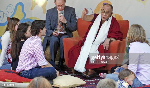 Dalai Lama speaks with children at the SOS children village in Hinterbruehl, some 30 kilometers southwest from Vienna 17 September 2007. The SOS...
