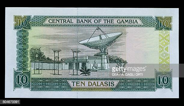 Dalasis banknote, 1990-1999, reverse with a satellite dish. Gambia, 20th century.