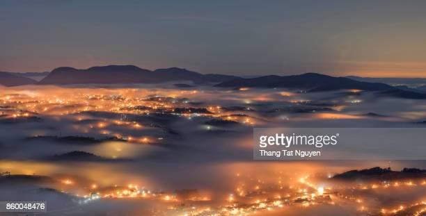 Dalat city skyline: City view from 2200m mountain