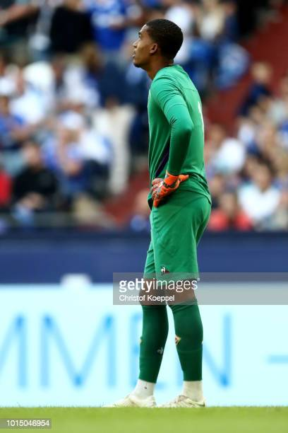 dAlban Lafont of Fiorentina looks dejected after the first goal during the friendly match between FC Schalke 04 v AFC Fiorentina at Veltins Arena on...