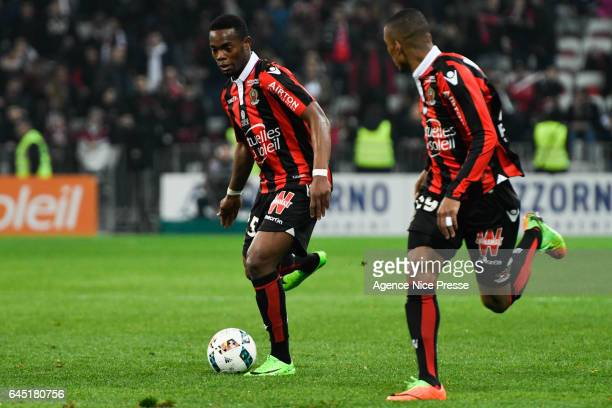 Dalbert Henrique and Wylan Cyprien of Nice during the French Ligue 1 match between Nice and Montpellier on February 24 2017 in Nice France