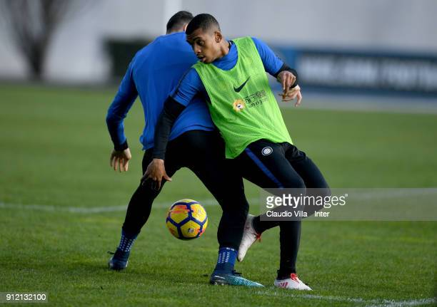 Dalbert Henrique Chagas Estevao of FC Internazionale reatcs during the FC Internazionale training session at Suning Training Center at Appiano...