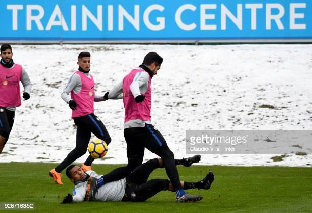 Dalbert Henrique Chagas Estevão and Andrea Ranocchia of FC Internazionale compete for the ball during the FC Internazionale training session at the...