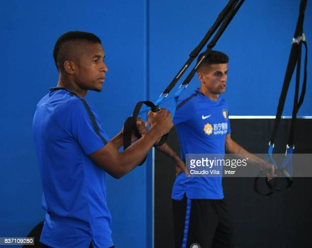 Dalbert Henrique Chagas Estevão and Joao Cancelo of FC Internazionale in action during a training session at Suning Training Center at Appiano...