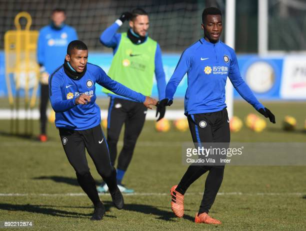 Dalbert Henrique Chagas Estevão and Yann Karamoh of FC Internazionale in action during the FC Internazionale training session at Suning Training...