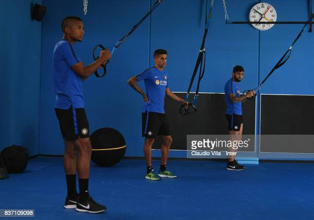 Dalbert Henrique Chagas Estevão Joao Cancelo and Gabriel Barbosa Almeida of FC Internazionale in action during a training session at Suning Training...