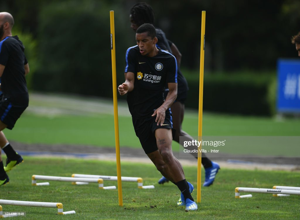Dalbert Henrique Chagas Estevão of FC Internazionale in action during the FC Internazionale training session at the club's training ground Suning Training Center in memory of Angelo Moratti at Appiano Gentile on August 10, 2018 in Como, Italy.