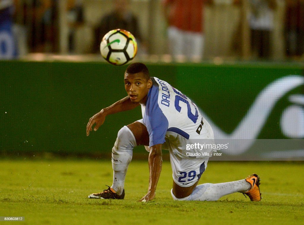 Dalbert Henrique Chagas Estevão of FC Internazionale in action during the Pre-Season Friendly match between FC Internazionale and Real Betis at Stadio Via del Mare on August 12, 2017 in Lecce, Italy.