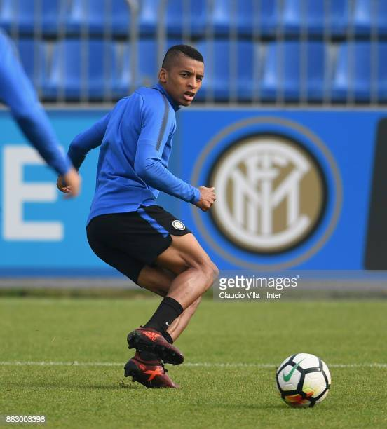 Dalbert Henrique Chagas Estevão of FC Internazionale in action during the training session at Suning Training Center at Appiano Gentile on October 19...