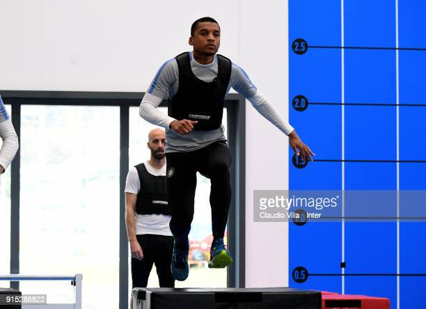Dalbert Henrique Chagas Estevão of FC Internazionale in action during the FC Internazionale training session at Suning Training Center at Appiano...