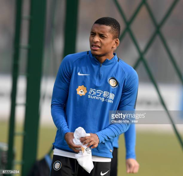 Dalbert Henrique Chagas Estevão of FC Internazionale looks on during the FC Internazionale training session at Suning Training Center at Appiano...
