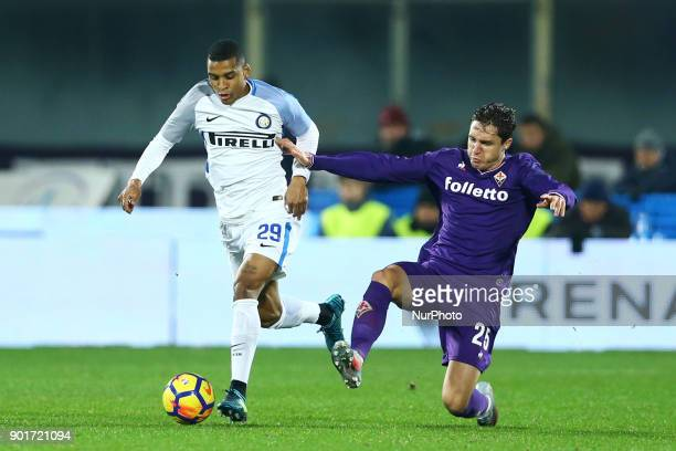 Dalbert of Internazionale and Federico Chiesa of Fiorentina at Artemio Franchi Stadium in Florence Italy on January 5 2017